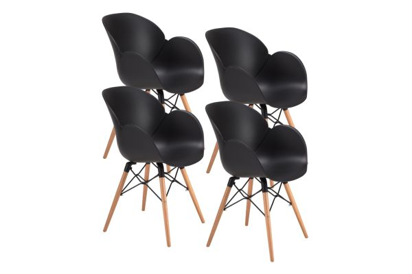 Prime Mid Century Modern Dining Room Chairs Eames Style With Tufted Wooden Leg And Upgraded Base Set Of 4 4 Pieces Carton Machost Co Dining Chair Design Ideas Machostcouk