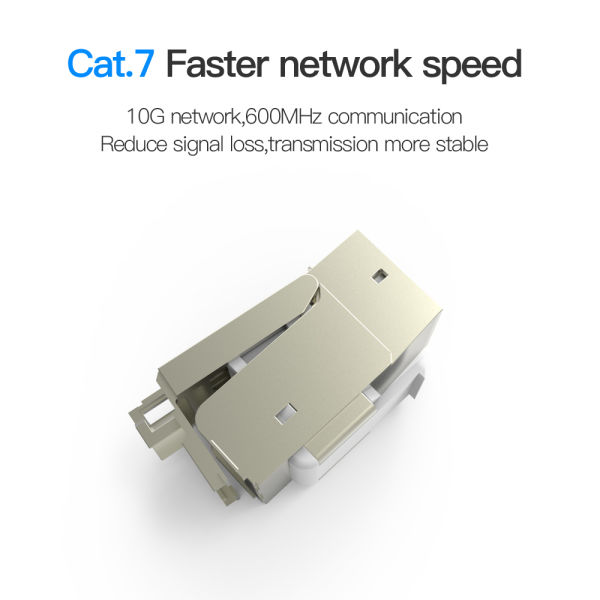 VENTION Cat 7 RJ45 Ethernet Modular Keystone Jack 50U Gold Plated Snap-in Connector Socket Shielding Adapter 10G Network