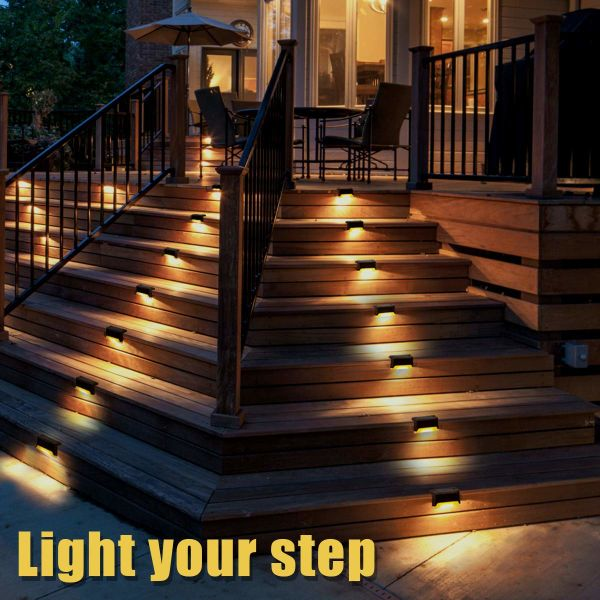 Gigalumi 12 Pcs Solar Deck Lights Bronze Finished Waterproof Led Lamp For Outdoor Pathway