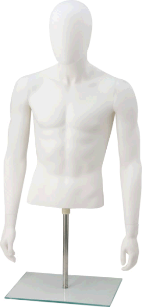 Blowing White Male Half-Body Mannequin Upper Body Torso