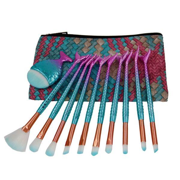 1db01b0d6531 Makeup Brushes Sets, NIZIYI 11PCS Mermaid Makeup Cosmetic Brush Set Soft  Nylon Bristles Beauty Brushes Kit Foundation Powder Cream Eyebrow Eyeliner  ...