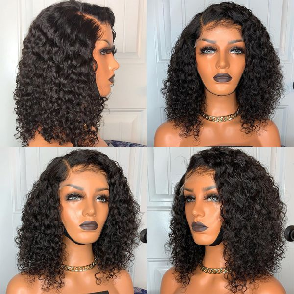 Short Curly Bob Wigs Brazilian Virgin Human Hair 150% Density 13x4 Lace Front Wigs Kinky Curly Hair For Black Women Pre Plucked with Baby Hair 12inch(30.4cm)