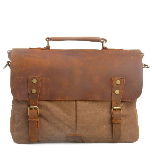 629d88f309 REDSWAN 14-15.6 inch Laptop Messenger Bag Vintage Genuine Leather Canvas  Briefcase Computer Satchel