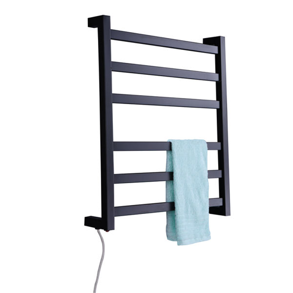 WarmerCare Stainless Steel Electric Wall Mounted Towel Warmer with Switch, Bathroom Accessories Racks, Black Heated Towel Rail