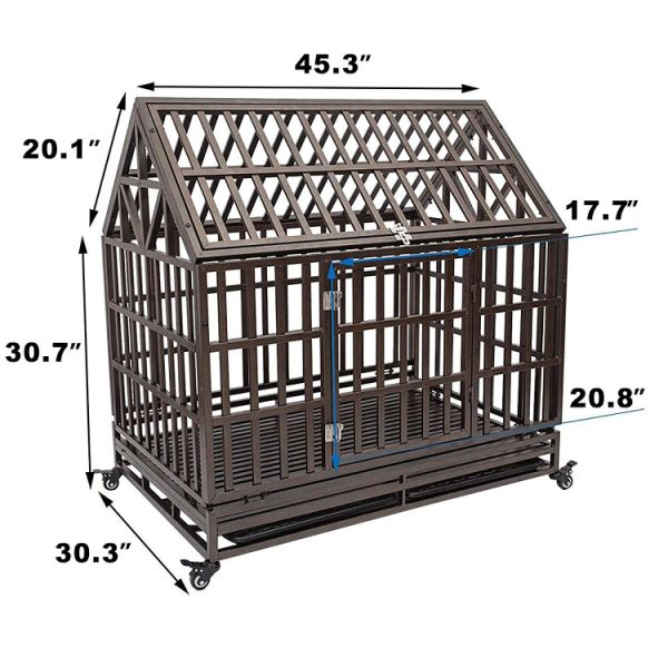 Haige Pet Your Pet Nanny 46'' Roof Heavy Duty Dog Crate Cage Kennel Playpen  Large Strong Metal for Large Dogs Cats with Two Prevent Escape Lock and