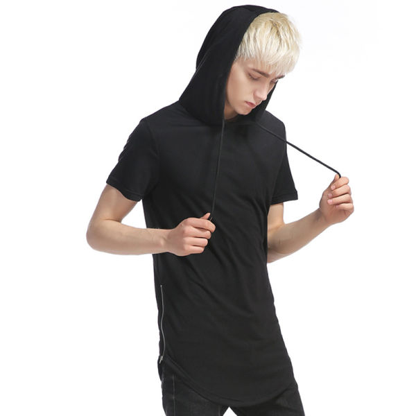 Whatlees Mens Hip Hop Extra Long Curved Hem Design Solid Short Sleeve Side Zipper Pullover Hoodie Shirt
