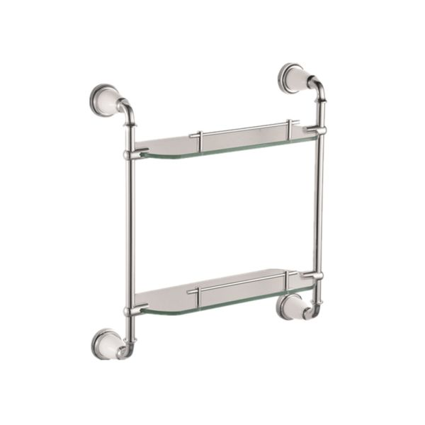 Shop For Chrome Plated Bathroom Double Glass Shelves Of The Dressing