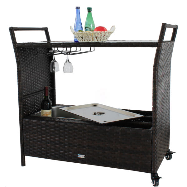 Patio Bar Cart Outdoor Indoor Pe Rattan Serving Carts 2 Wheels Caster Wicker Ice Bucket Cup Holder Brown 1 Set Carton