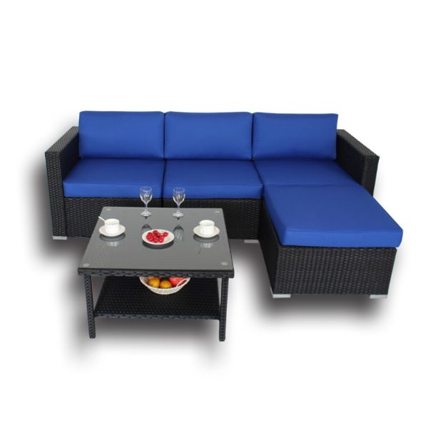 Patio Rattan Conversation Sofa Set Outdoor Deck Furniture Garden Wicker Couch Black Royal Blue Cushion