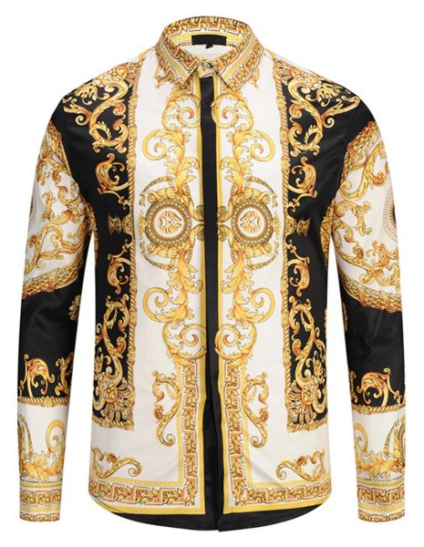 best cheap the cheapest better price Pizoff Mens Long Sleeve Luxury Gold Floral Print Dress Shirt Y1792-29-S 1  Piece / Bag