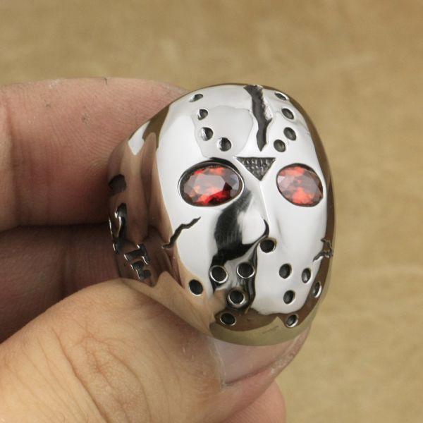 316L Stainless Steel Halloween Mask Jason Hockey Red CZ Eyes Mens Biker Ring 3F301 US Size 7