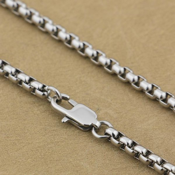 Diameter 3.5mm 316L Stainless Steel Men Biker Box Necklace Pendant Matching Chain 5N001 Length 18 inches