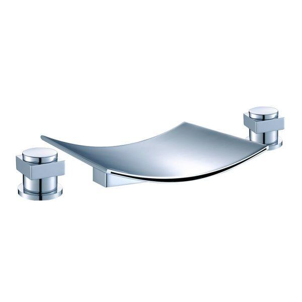 FLG Deck Mount Two Handle Widespread Waterfall Bathroom Mixer Tap Roman Bath Tub Faucet Chrome