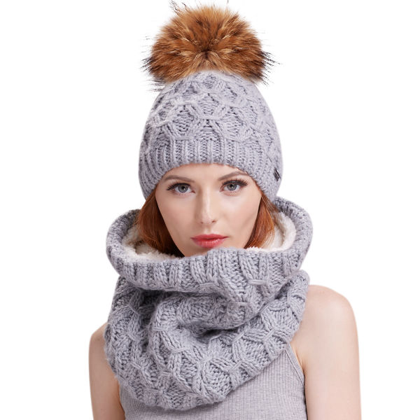 b51b94aaa33c81 FURTALK Womens Winter Pom Hat Set - Real Fur Ball Knit Beanie Hats and  Scarf For