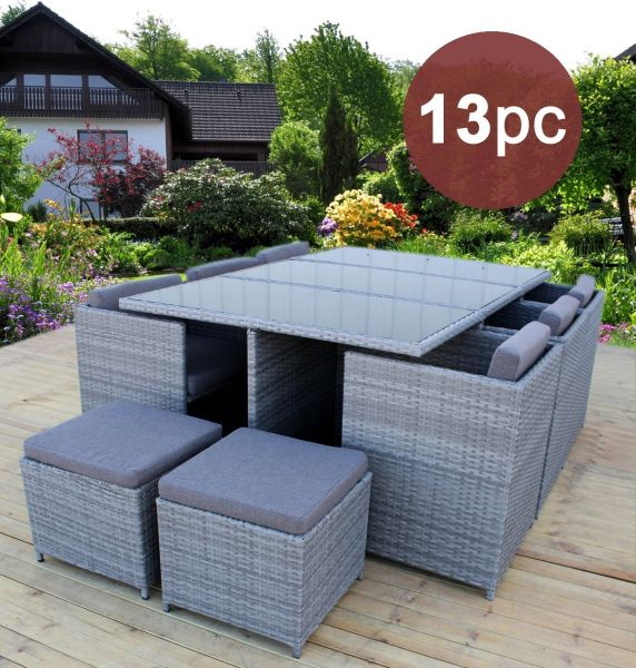 Heredeco 13 Piece Outdoor Porch Lawn Sectional Dining Wicker Patio Furniture Sofa Set Cushioned W