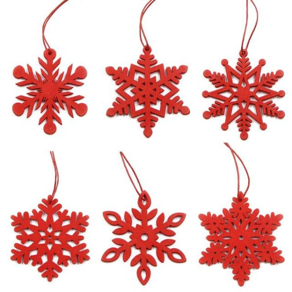 Shop for 6PCS DIY White&Red Snowflakes Christmas Wooden ...