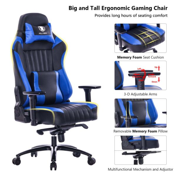 Killabee Big And Tall 400lb Memory Foam Gaming Chair Adjustable Tilt Back Angle And 3d Arms Ergonomic High Back Leather Racing Executive Computer