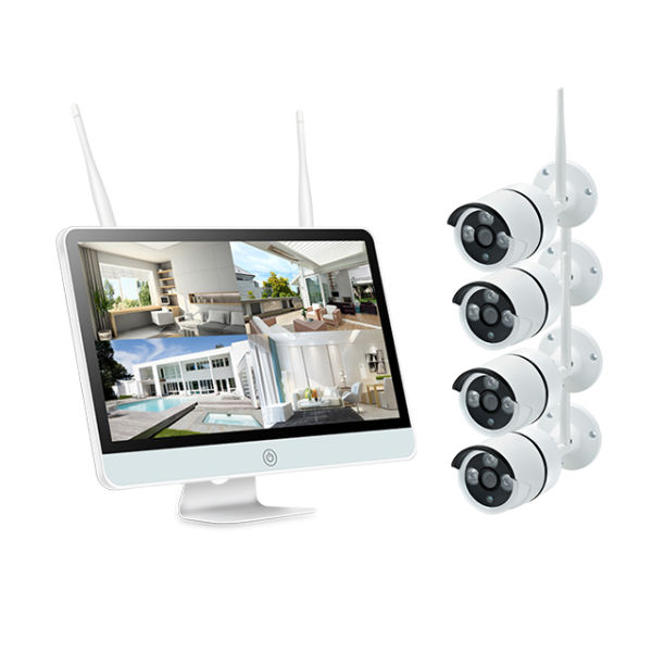 Plug And Play P2P Remote IP Pro Wifi Camera 12V 15inch LCD 4CH Wif NVR Kit  1 Set / Box