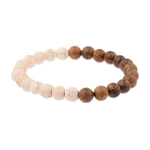 Amader 8mm New Natural Wood Beads Bracelets Men Black Ethinc Meditation White Bracelet Women Prayer Jewelry Yoga Abj005 005 C1 1 Piece Box