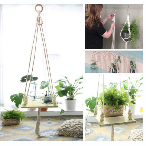 Shop For Macrame Shelf Hanging Plant Hanger Display Wall Hanging