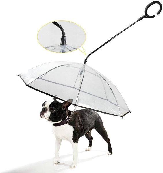 Adjustable Pet Dog Umbrella with Leash for Small Pets Dog Umbrella (Upgraded Flexible Handle)