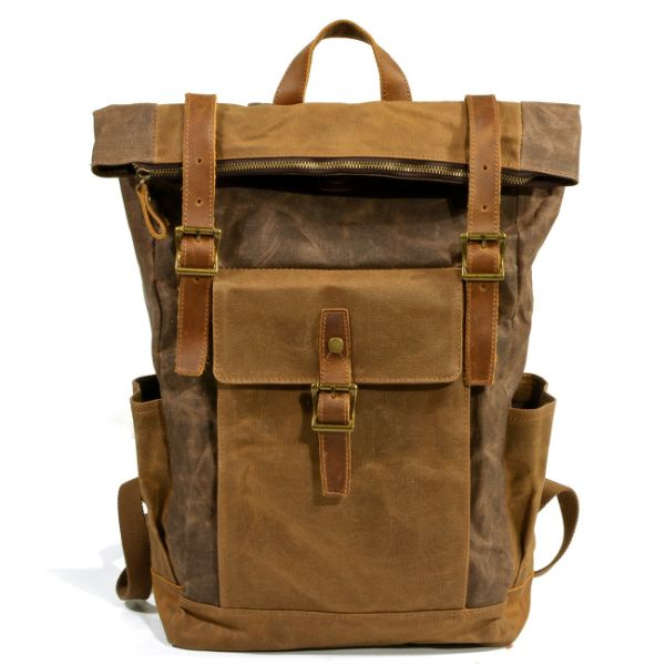 2c1aa54b63 REDSWAN Vintage Genuine Leather Canvas Rucksack Backpack Oil Wax Waterproof  Large Capacity 15inch Laptop Casual Daypack
