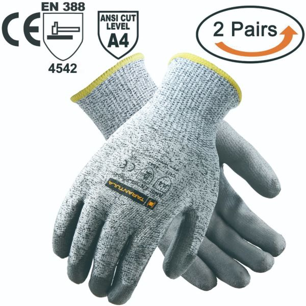 Tarantula Cut Resistant Gloves, 13 Gauge Hppe Shell With Black PU Coated on  Palm Salt and Pepper Cut Resistance Level 5 Shell, 2 Pair Per Pack 2