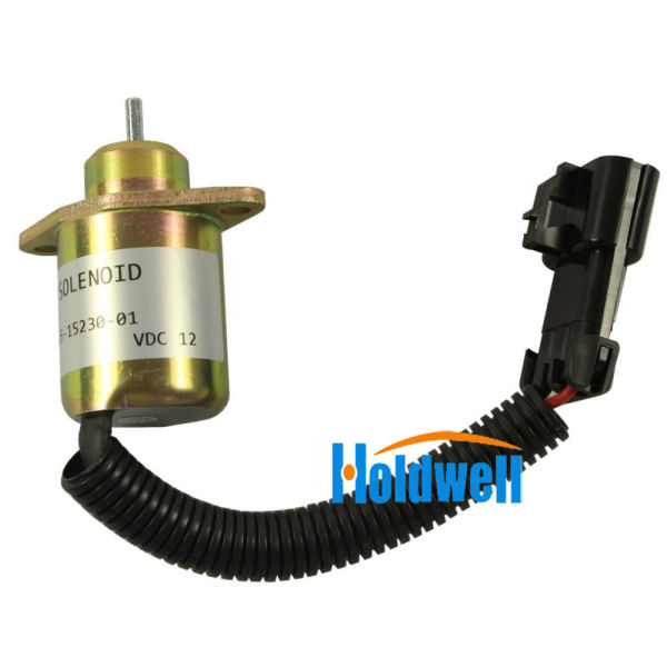 Holdwell 251523001 Fuel Shut Off Stop Solenoid for KUBOTA Engine R90 R-25-15230-01