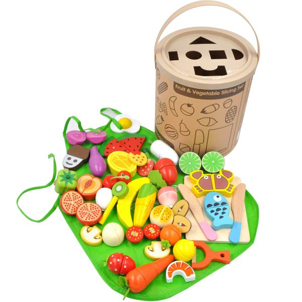 GYBBER&MUMU Kitchen Wooden Toys Fun Cutting Fruits Vegetables Pretend Food Playset Educational Early Age Basic Skills Development 40pcs Set by GYBBER&MUMU