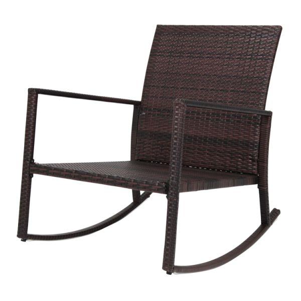 Enjoyable Kinbor Rattan Rocker Chair Outdoor Garden Rocking Chair Wicker Lounge W Red Cushion 1 Piece Carton Squirreltailoven Fun Painted Chair Ideas Images Squirreltailovenorg