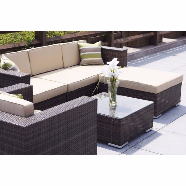 Outstanding Direct Wicker 6 Piece Outdoor Patio Garden Furniture Rattan Sectional Sofa Set 1 Set Sets Inzonedesignstudio Interior Chair Design Inzonedesignstudiocom