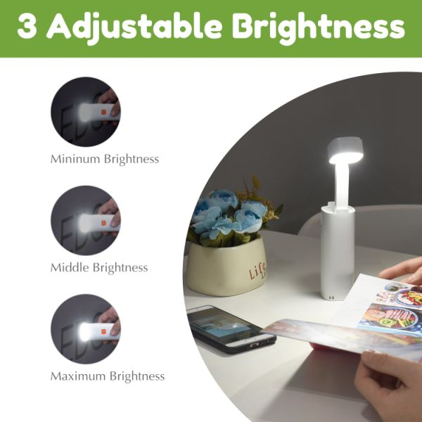 LED Desk Lamp Foldable Cordless Reading Light with Rechargeable Battery Used as PhoneStand/Emergency Light Eye-Caring and Energy