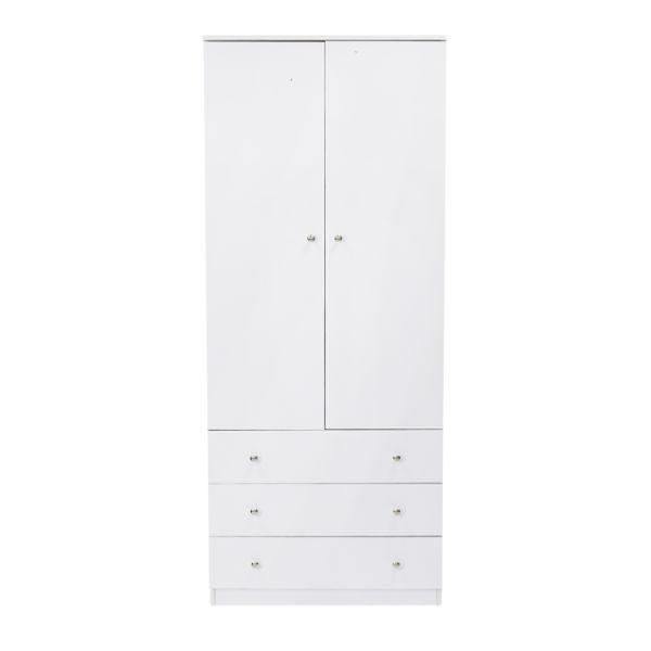 Kinbor 2 Door Wardrobe Cabinet Armoire Storage With Three Drawers White