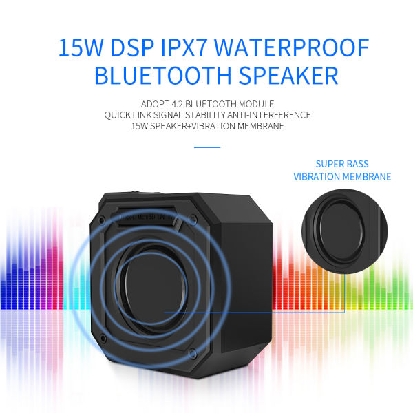 CYBORIS DSP Bluetooth 4.2+EDR 15W Wireless Speaker with 24 Hours Playtime, TWS, Dual-Driver Portable Wireless Speaker with Built-in Mic, Deep Bass for Outdoor Indoor Home-Blue