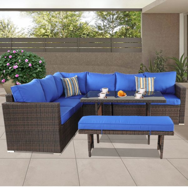 Fantastic Patio Furniture Sets 5Pcs Brown Pe Rattan Sofa Set With Royal Blue Cushion Garden Rattan Seating Couch Sectional With Bench Conversation Sofas 1 Set Cjindustries Chair Design For Home Cjindustriesco