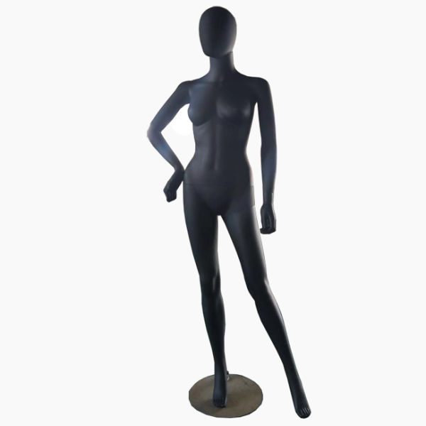Matte Black Color Female Plastic Mannequin With Full Body