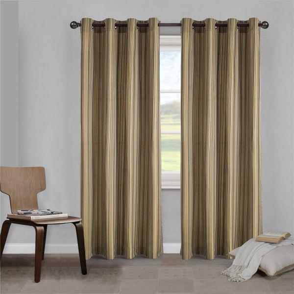 Shop For Comforhome Stripe Faux Silk Window Curtain