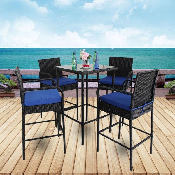 Patio Bar Set 5pcs Black Rattan Bar Table and Stools Set Outdoor Garden  Wicker Bar Set Easy Assembly Royal Blue Cushion (Royal Blue) 1 Set / Carton