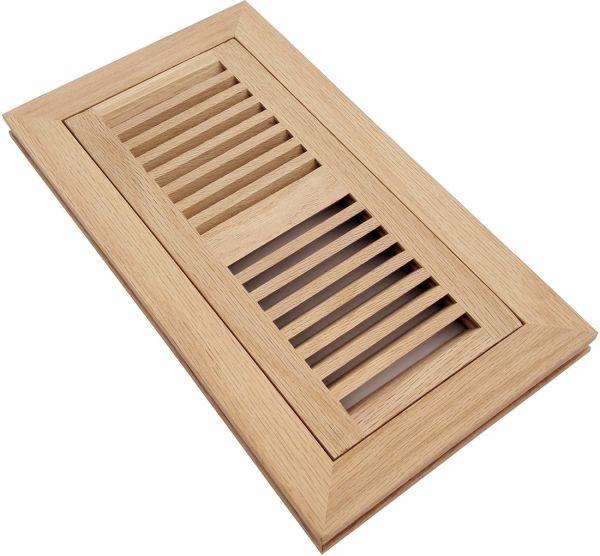 "Homewell 4"" x 10"" Solid Red Oak Wood Floor Register Vent, Flush Mount"