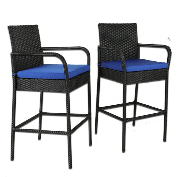 Patio Bar Set Rattan Stool Outdoor Pool Furniture Black Wicker High Chair With Navy