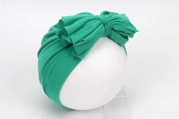 Baby Girls Headwrap Bowknot Cotton Cloth Turban Toddler Ear Hat Kids Head Cap Baby Hats (Green)