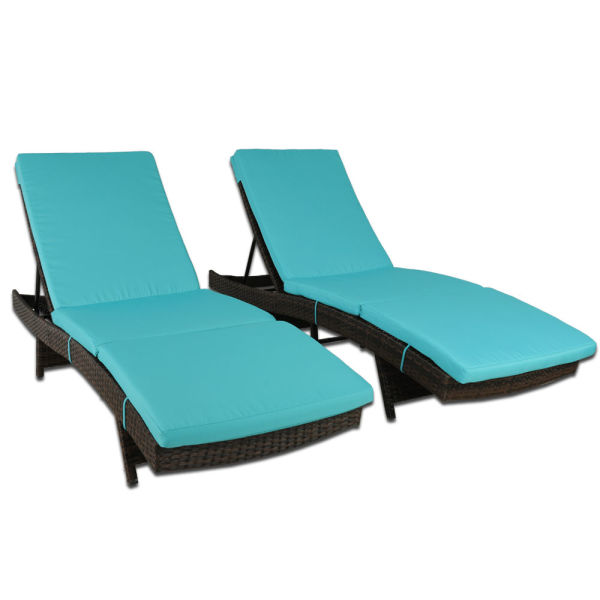Amazing Patio Chaise Lounge Pe Brown Rattan Furniture Garden Lounger Chair Outdoor Pool Sunbed Dabeds 2Pcs Turquoise 1 Set Carton Machost Co Dining Chair Design Ideas Machostcouk