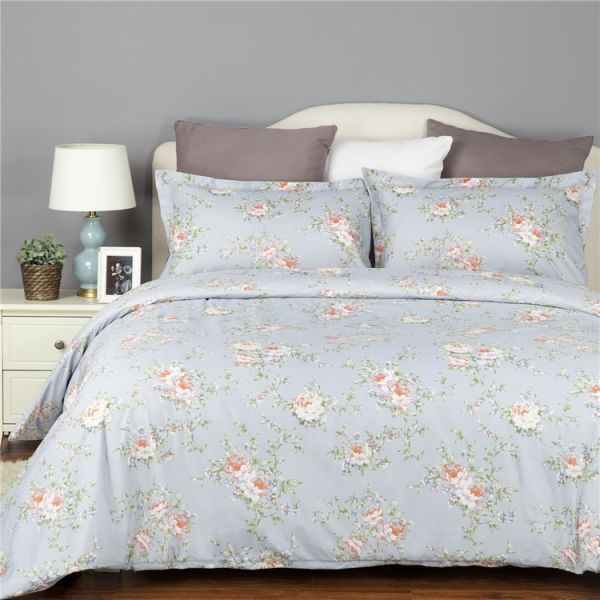Duvet Cover Set 100 Polyester Light Blue Flower Printed Queen Full Size For