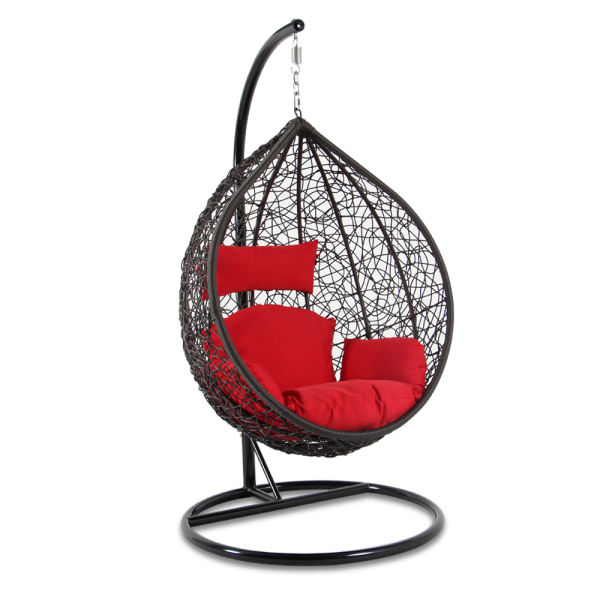 Shop For Brown Wicker Red Cushion Egg Shaped Single Seat