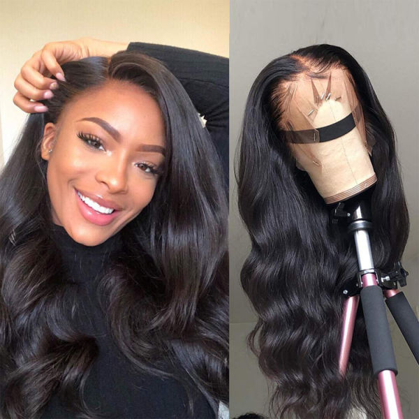 "Brazilian Body Wave Lace Front Wig 150% Denisty Brazilian Lace Front Human Hair Wig Pre Plucked Hairline with Baby Hair Natural Color 24""(60.9cm)"