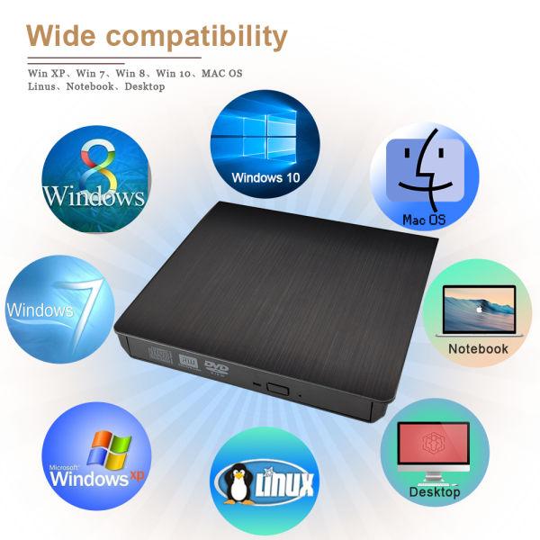 External DVD CD Drive, USB 3 0 Ultra Slim Portable CD/DVD +/- RW Drive  Burner DVD Player External ROM Rewriter Super Drive for Notebook Laptop PC