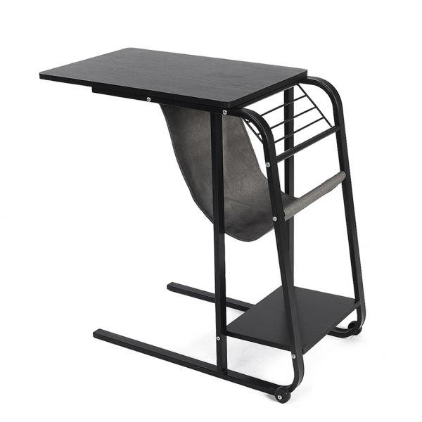Qwork Sofa Side Table Wheel Mobile Computer Desk With Storage Basket Black Willow 1 Unit Box