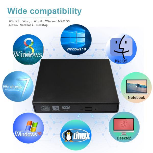 External DVD CD Burner Drive, Portable USB 2 0 DVD CD Drive RW Writer  Reader External Drive CD-RW/DVD-RW Player, External Optical Drives with  Classic