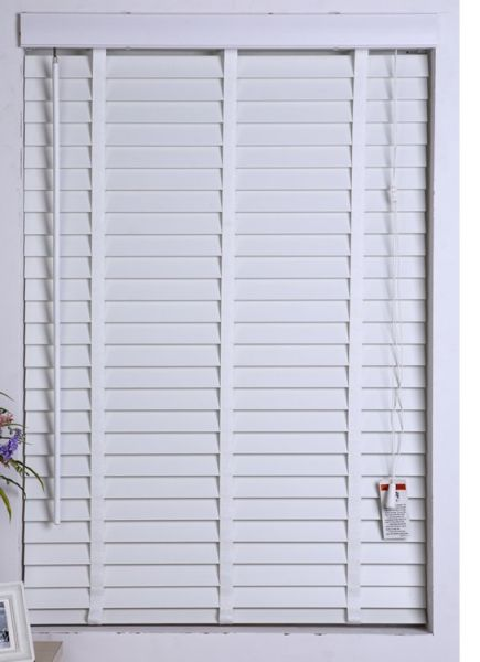 Customized 2inch Faux Wood Blinds With Low Profile Tape Ladder Wand Tilter Control 42inch 64inch 1 Piece Box
