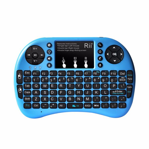 Blue Rii i8+ 2.4GHz Mini Wireless Keyboard with Touchpad Mouse LED Backlit Rechargable Li-